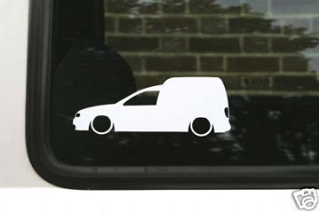 2x LOW vw caddy 9k Mk2 TDi / SDi van outline, Silhouette stickers / decals